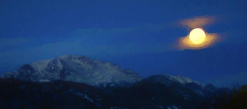 Moon over Pikes Peak by Ernie Echols