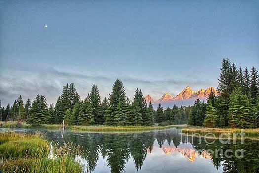 Moon Over The Tetons by Paul Quinn