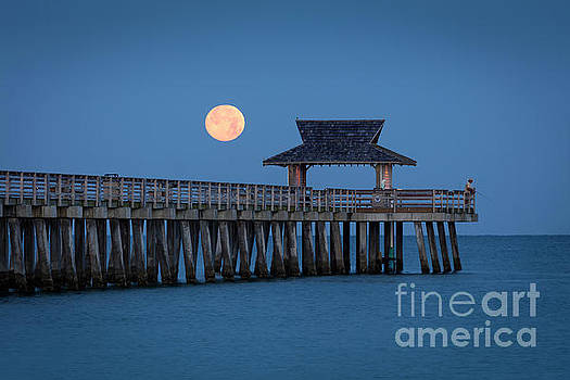 Brian Jannsen - Moon-set Over Naples Pier