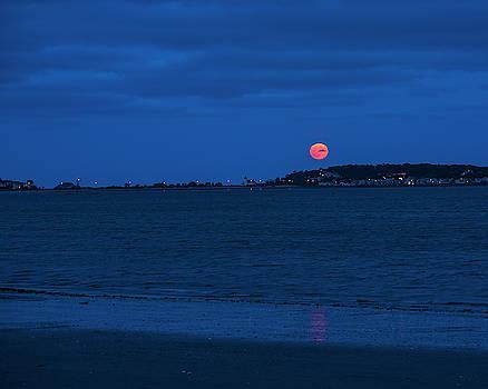 Toby McGuire - Moonrise over Nahant from Revere Beach Nahant MA Beach