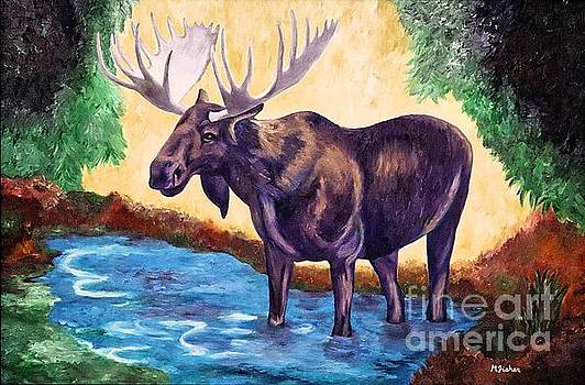 Moose in Water by Marissa Fisher