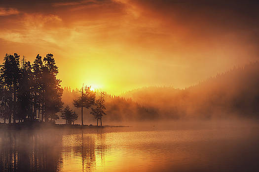Morning fog on the lake, sunrise shot by Valentin Valkov