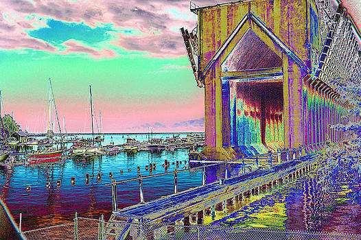 Morning Pink Marquette Ore Dock by Tom Kelly