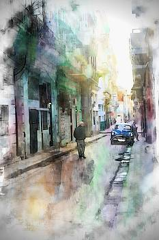 Morning Walk In Havana Toward A Blue Car by Toni Abdnour