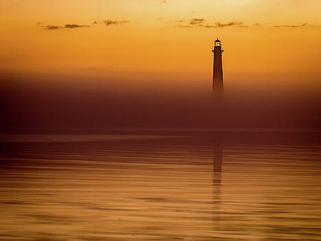 Morris Island Lighthouse Morning Orange by Donnie Whitaker