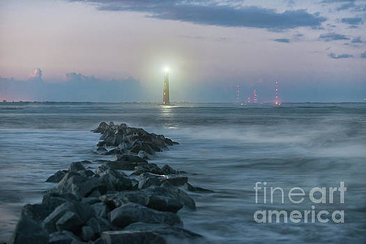 Morris Island Lighthouse Southern Glow by Dale Powell