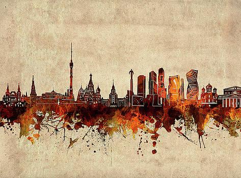 Moscow Skyline Sepia by Bekim Art