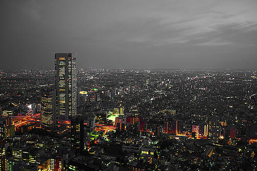 Mostly black and white Tokyo skyline at night with vibrant selective colors by Lukas Kerbs