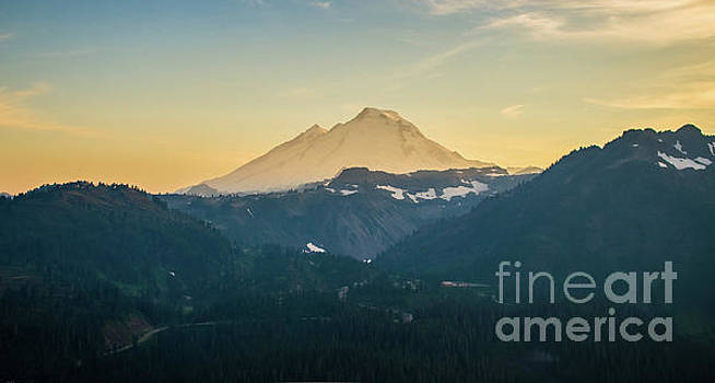 Mount Baker Photography Aerial Sunset by Mike Reid