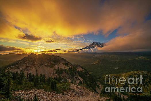 Mount Rainier Photography Pinnacle Saddle Sunset by Mike Reid