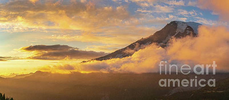 Mount Rainier Photography Sunset Clouds Panorama by Mike Reid