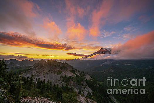 Mount Rainier Photography Sunset Cloudscape by Mike Reid