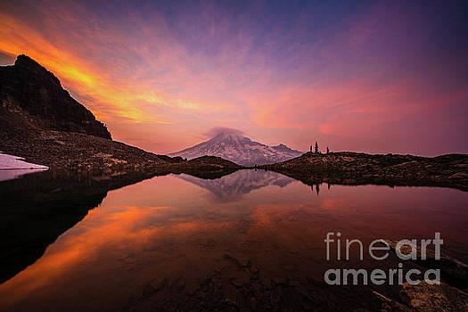 Mount Rainier Photography Sunset Tarn Fiery Skies by Mike Reid