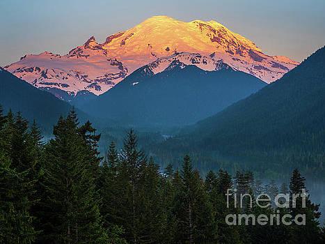 Mount Rainier Sunrise Alpenglow by Mike Reid