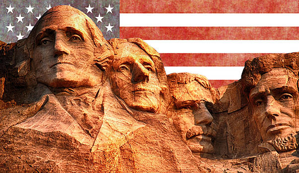 Mount Rushmore and the United States flag by Vicen Fotografia