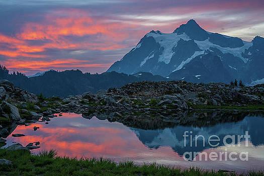 Mount Shuksan Sunrise Fire by Mike Reid
