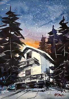 Mountain chalet at night by Ugljesa Janjic