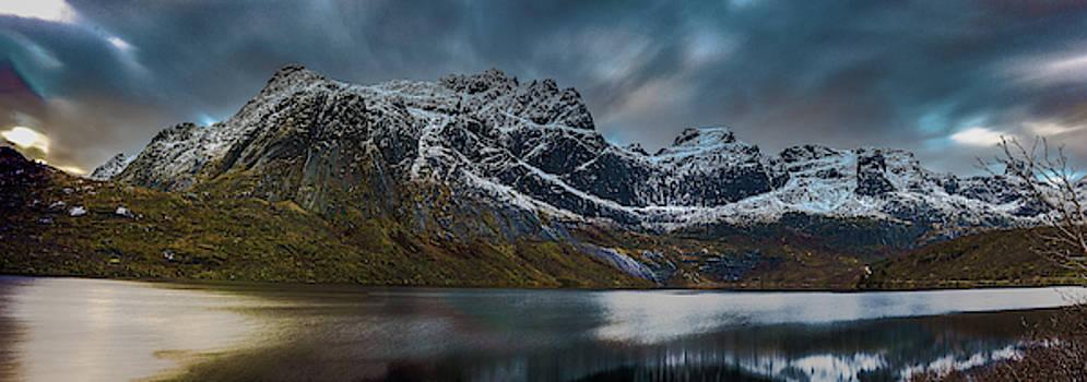 Mountain lake in Norway on Lofoten near Nusfjord by Kai Mueller