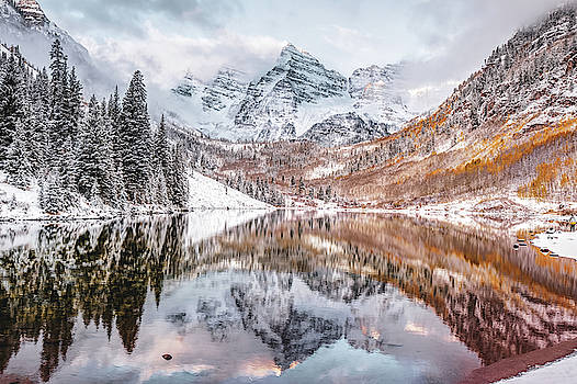 Mountain Landscape Reflections of Maroon Bells Colorado by Gregory Ballos