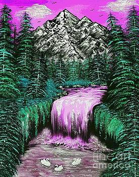 Mountain views so beautiful pink arty by Angela Whitehouse