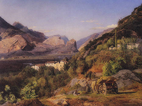 Mountains At Arco At Riva by Ferdinand Georg Waldmuller