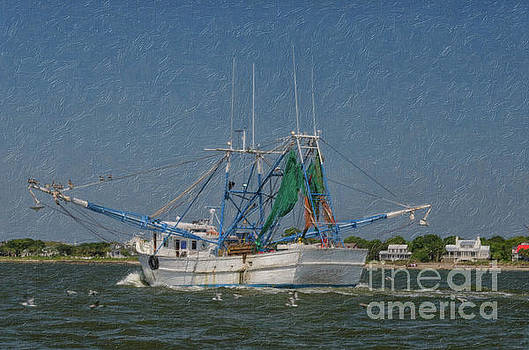 Mrs Judy Too Shrimp Boat Cruising by Sullivan's Island SC by Dale Powell