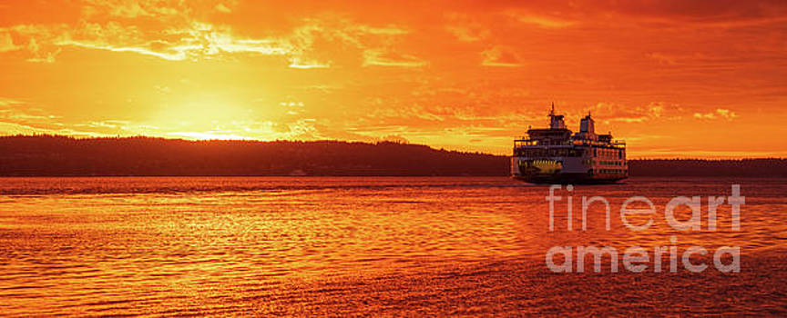 Mukilteo Ferry On Puget Sound Sunset Reflection by Mike Reid