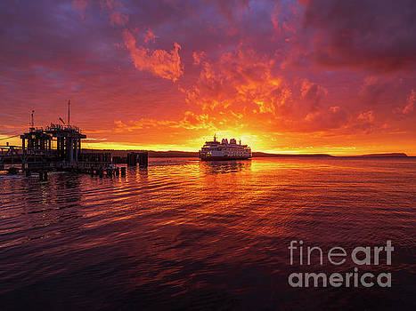 Mukilteo Ferry Sunset Reflection by Mike Reid