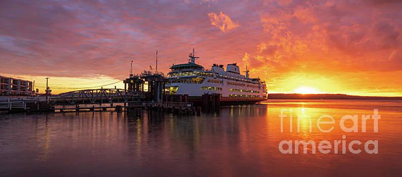 Mukilteo Ferry Sunset Reflection Panorama by Mike Reid