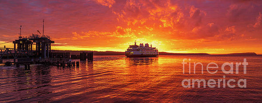 Mukilteo Ferry Sunset Skies Reflection by Mike Reid
