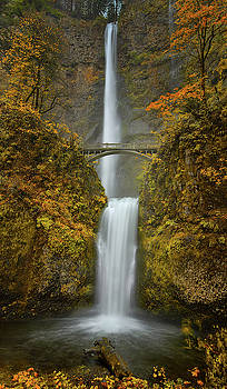 Multnomah Falls in Fall by Don Schwartz