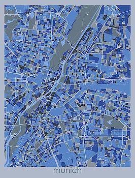 Munich Map Retro 5 by Bekim M