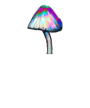 Mushroom in white Trippy Psychedelic Colors Botanical Fungi by Swigalicious Art