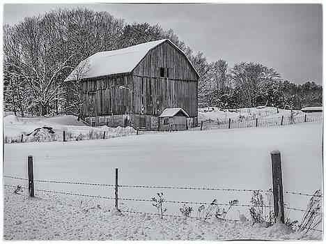 Andrew Wilson - Muskoka Barn In Winter in Black and White