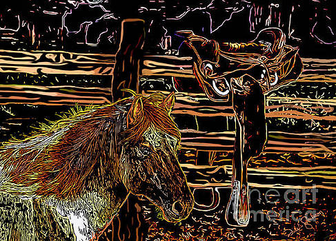 Mustang Horse and a Western Saddle by Dale E Jackson