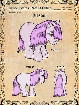 Greg Edwards - My Little Pony Blossom Antique Paper Colorized Patent Print