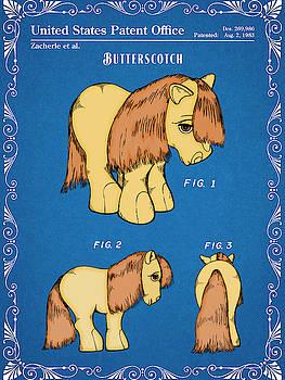 Greg Edwards - My Little Pony Butterscotch Blueprint Colorized Patent Print