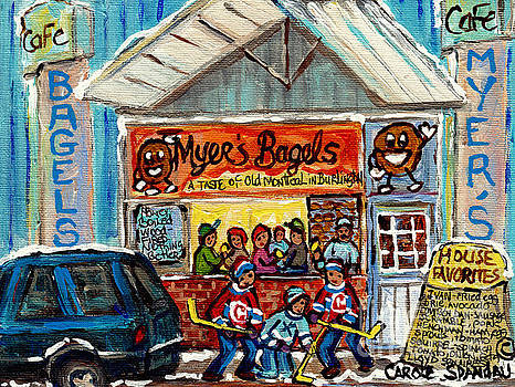Myer's Bagel Cafe Burlington Vermont Bakery Painting Hockey Art Winter Scene C Spandau Resto Artist by Carole Spandau