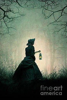 Mysterious Victorian Woman Carrying An Oil Lamp At Night by Lee Avison