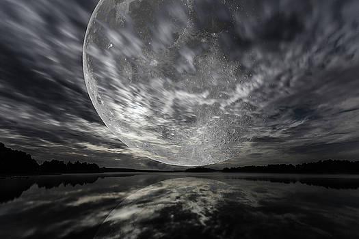 Mystery landscape, big full moon over dark lake by Lukasz Szczepanski