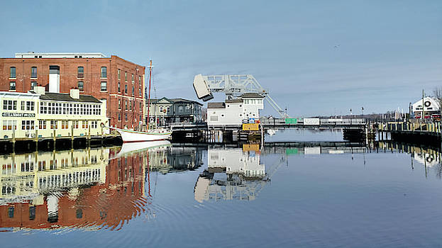 Mystic River Drawbridge with Sailing Ship by Kirkodd Photography Of New England