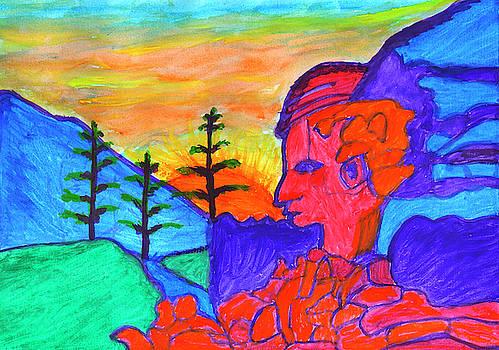 Mystical rock with a profile at sunrise by Irina Dobrotsvet