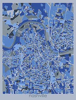 Nashville Map Retro 5 by Bekim M