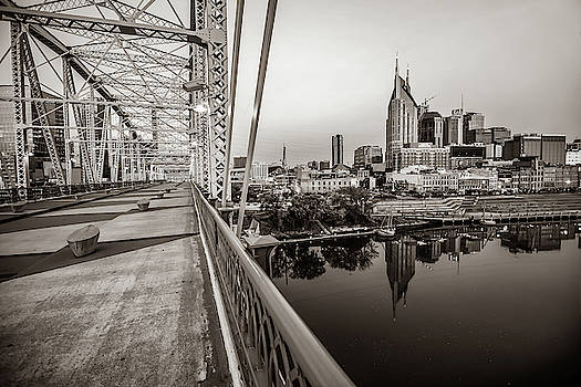 Nashville Skyline and Pedestrian Bridge in Sepia by Gregory Ballos