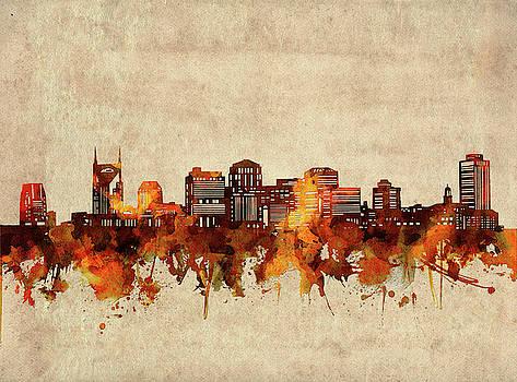Nashville Skyline Sepia by Bekim Art
