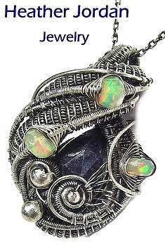 Natural Blue Sapphire Wire-Wrapped Pendant in Sterling Silver with Ethiopian Welo Opals by Heather Jordan