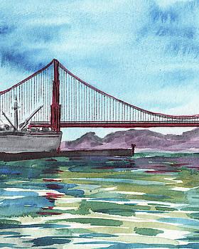 Naval Ship At Golden Gate Bridge Watercolor by Irina Sztukowski