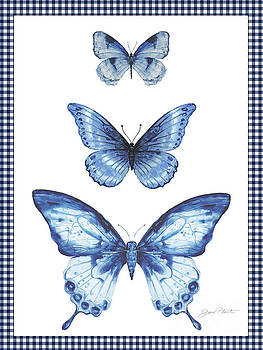 Navy Butterfly Trio by Jean Plout