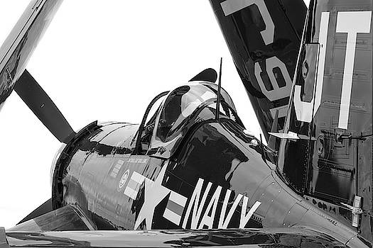 Navy Corsair in Black and White by Chris Buff