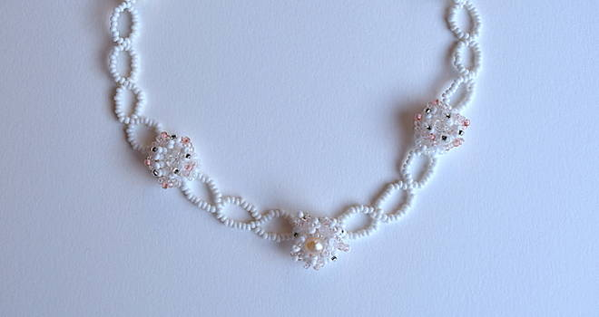 Necklace with pearl and crystals by Inessa Williams